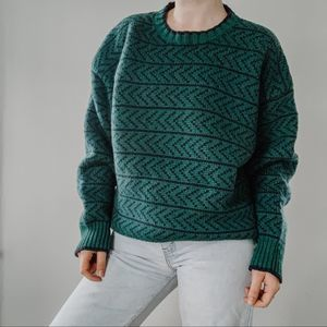 GAP | Vintage Blue & Green 100% Wool Sweater Sz XL